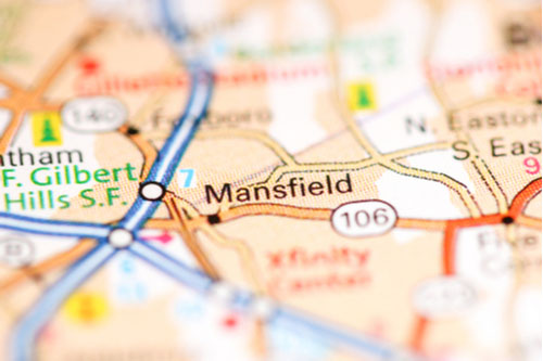 Mansfield, Massachusetts on a geography map