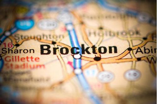 Brockton, Massachusetts USA on a geography map