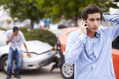 A man calling an attorney after being involved in a rear-end accident.