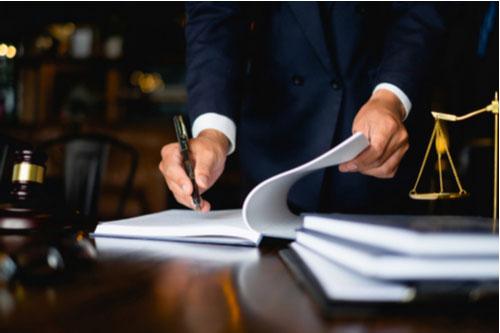 Bridgewater personal injury lawyer filing paperwork to help client